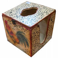 Салфетница кубик Петухи дерево