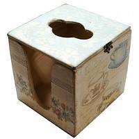 Салфетница деревянная кубическая Чашки