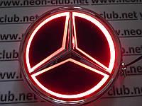 Светящаяся эмблема, логотип, значок Mercedes / Мерседес бенц 5D красная