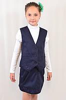 Детская школьная синяя жилетка с вышивкой на девочку р.122-146