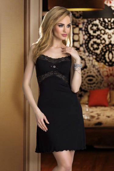 Женский пеньюар черного цвета с кружевом. Модель Bona Eldar