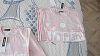 Футболка-блуза для девочки с длинным рукавом розовая с надписью и белыми горохами
