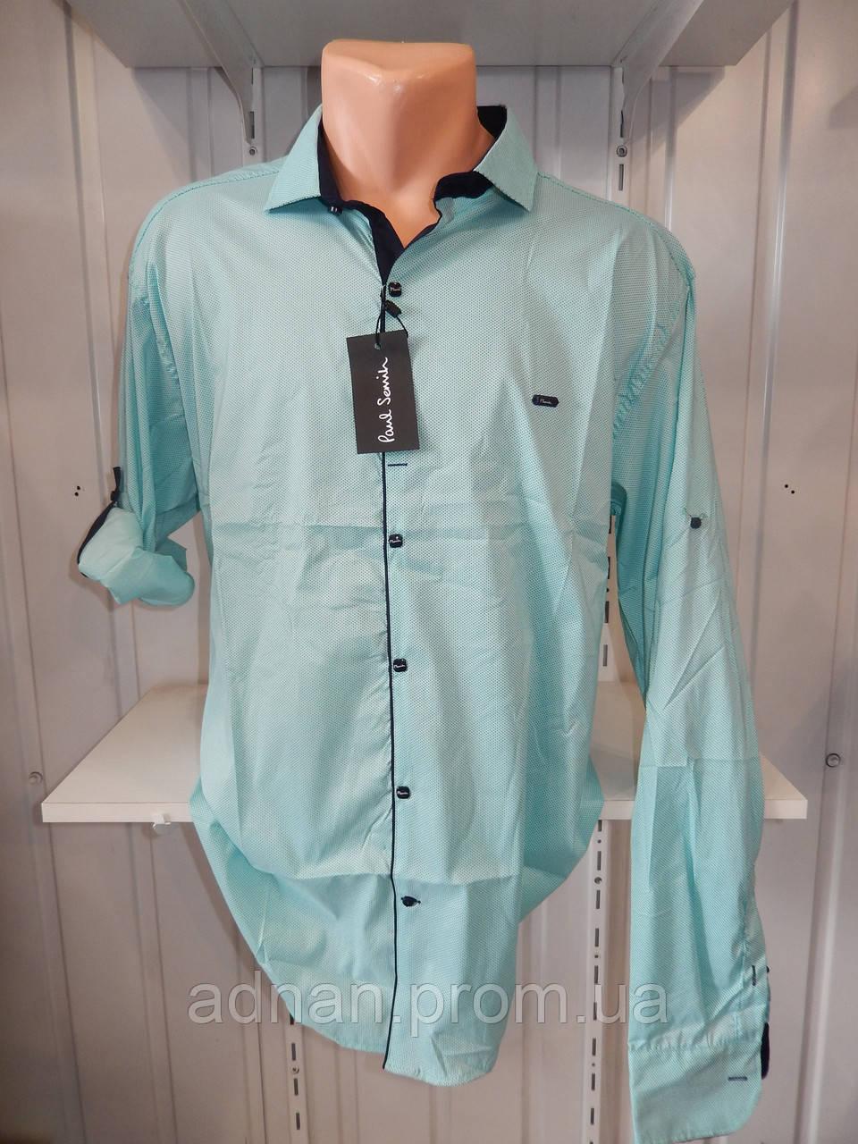 Рубашка мужская Paul Smith длинный рукав, батал, стрейч, мелкий узор №5 004 \ купить рубашку