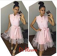 Платье модное мини с пышной юбкой из сетки разные цвета SMslip1669