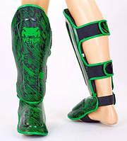 Защита голени и стопы для тайского бокса и ММА VENUM FUSION черно-зеленая М