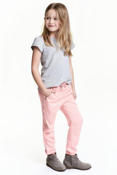 Легкие брюки с лампасами для девочки H&M, розовый, большемерят (р.2/3 года)