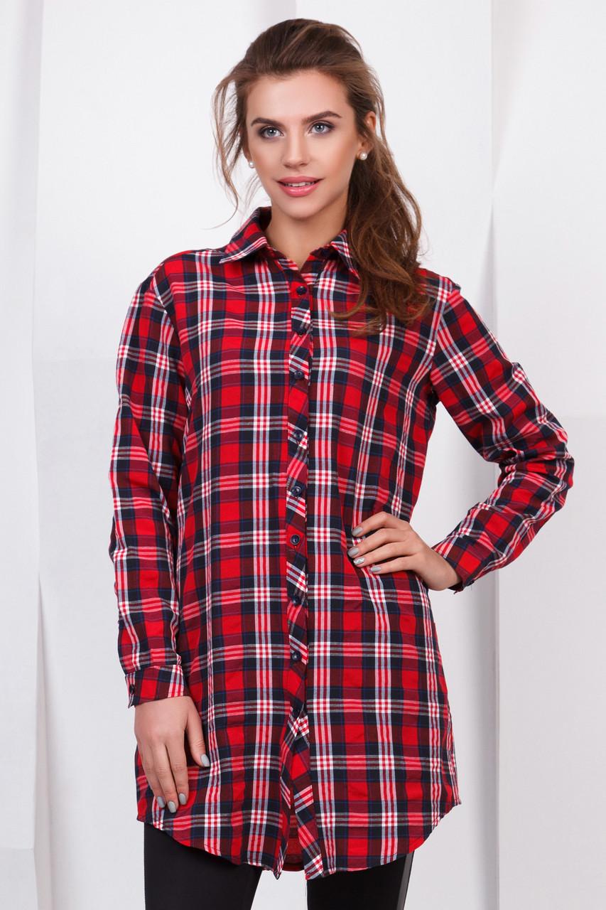 75d0ed88985 Удлиненная рубашка в красную клетку  продажа