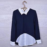 """Джемпер-обманка школьный """"Рокси"""" #0975 для девочек. Размер 128-164 см. Темно-синий+белый. Школьная форма оптом"""
