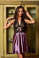 Красивая атласная ночная рубашка с кружевом Фрез, фото 1