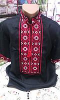 Вышиванка мужская лен черная с краснной вышивкой