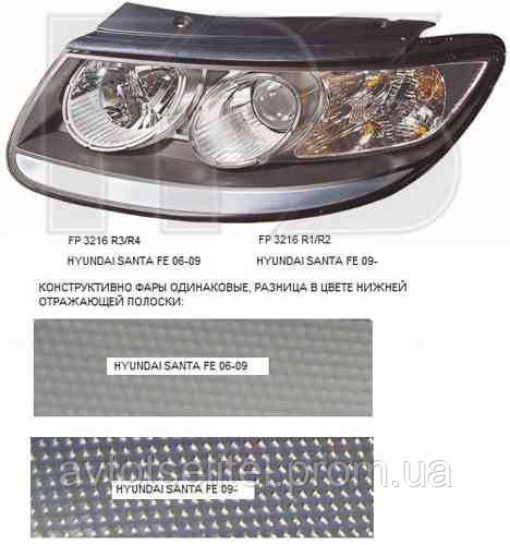 Фара передняя для Hyundai Santa Fe 06-10 CM левая (FPS) под электрокорректор