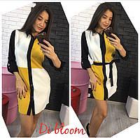 Платье-рубашка модное с поясом мини креп-костюмка 2 цвета SMslip1672