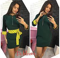 Платье модное с молнией на груди и поясом мини креп-костюмка 3 цвета SMslip1673