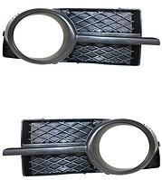 Решетка в бампере левая с черной накладкой для Chevrolet Aveo T250 2006-12 SDN