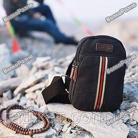 Мужская сумка рюкзак Flash на одно плечо  черного цвета.