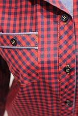 Женские рубашки в клетку джинс RAM оптом VSA красный+черн мелк, фото 3