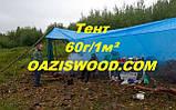 Тент дешево 10х18м универсальный тарпаулин синий 60г/1м² с люверсами, фото 8