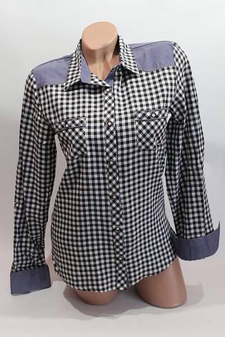 Женские рубашки в клетку джинс RAM оптом VSA белый+черный, фото 2