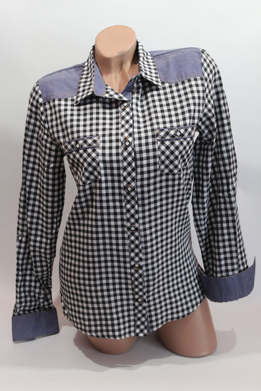 Женские рубашки в клетку джинс RAM оптом VSA белый+черный