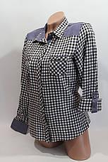 Женские рубашки в клетку джинс RAM оптом VSA белый+черный, фото 3