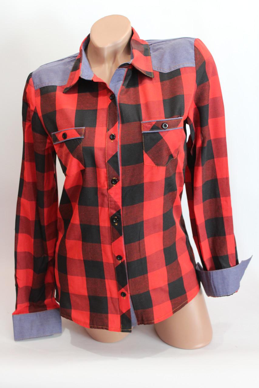 Женские рубашки в клетку джинс RAM оптом VSA красный+черный 4*4