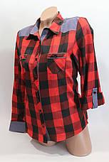 Женские рубашки в клетку джинс RAM оптом VSA красный+черный 4*4, фото 3