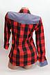 Женские рубашки в клетку джинс RAM оптом VSA красный+черный 4*4, фото 2