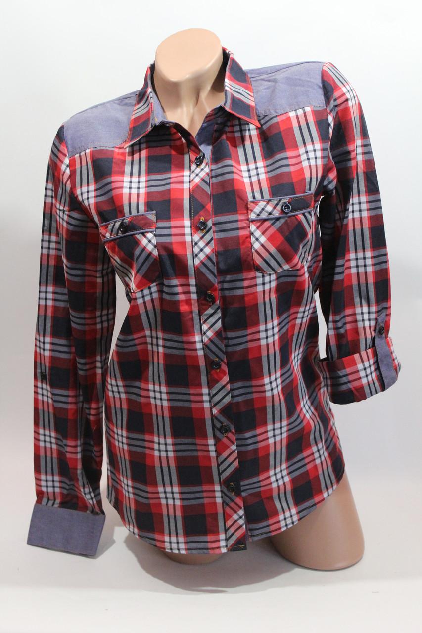 Женские рубашки в клетку джинс RAM оптом VSA красный+синий+бел+полос.