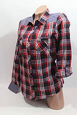Женские рубашки в клетку джинс RAM оптом VSA красный+синий+бел+полос., фото 3