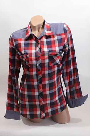 Женские рубашки в клетку джинс RAM оптом VSA красный+белый+син 3, фото 2