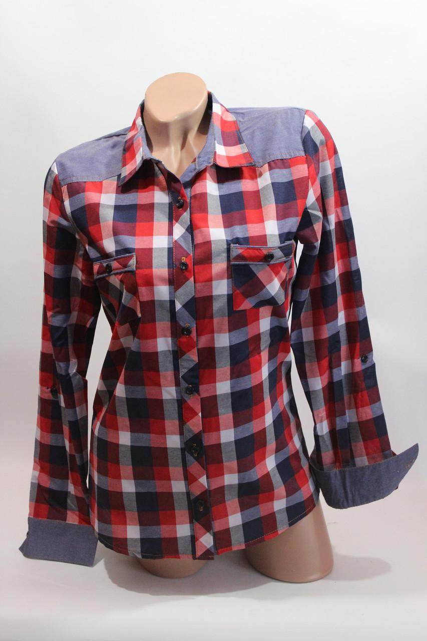Женские рубашки в клетку джинс RAM оптом VSA красный+белый+син 3