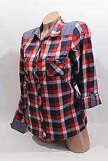Женские рубашки в клетку джинс RAM оптом VSA красный+белый+син 3, фото 3