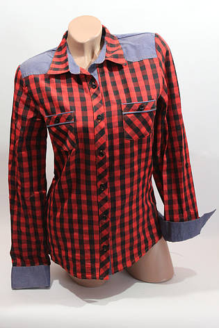 Женские рубашки в клетку джинс RAM оптом VSA красный+черн мелк, фото 2