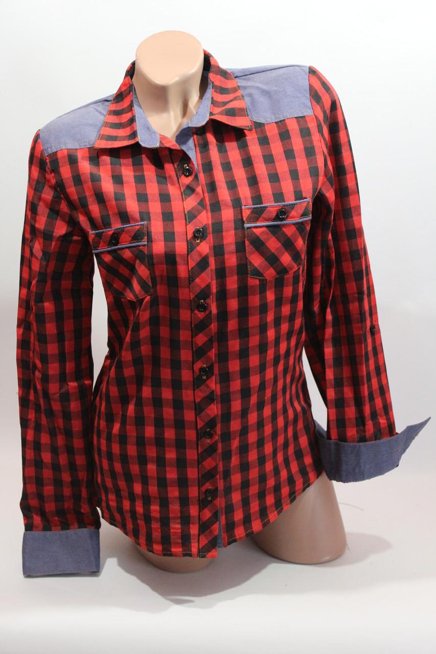Женские рубашки в клетку джинс RAM оптом VSA красный+черн мелк
