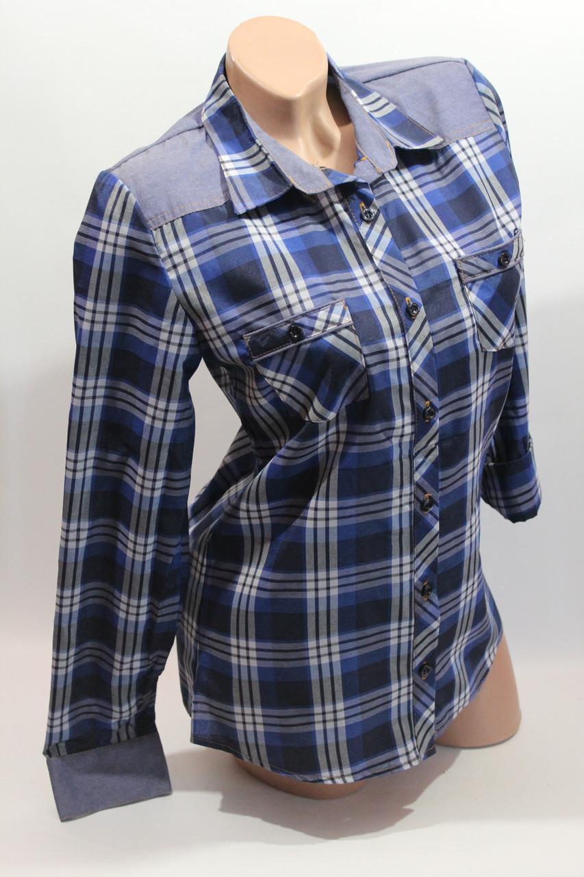 Женские рубашки в клетку джинс RAM оптом VSA син+бел+полос.