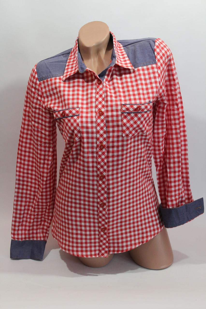Женские рубашки в клетку джинс RAM оптом VSA красный+белый мелк.