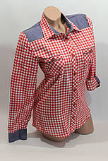 Женские рубашки в клетку джинс RAM оптом VSA красный+белый мелк., фото 2