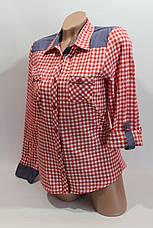 Женские рубашки в клетку джинс RAM оптом VSA красный+белый мелк., фото 3