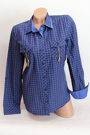 Женские рубашки в клетку замок карм. оптом VSA т.синий+электрик, фото 2