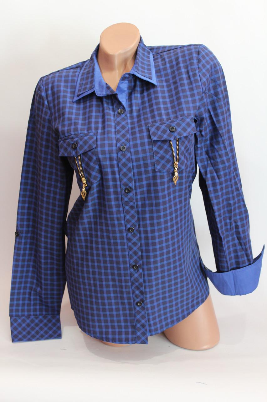 Женские рубашки в клетку замок карм. оптом VSA т.синий+электрик