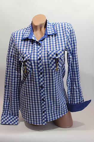 Женские рубашки в клетку замок карм. оптом VSA белый+электрик, фото 2