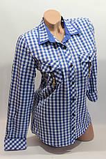 Женские рубашки в клетку замок карм. оптом VSA белый+электрик, фото 3