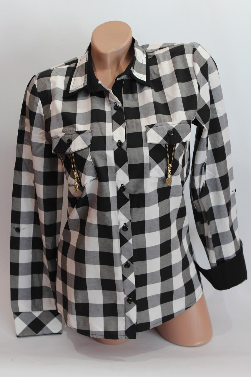 Женские рубашки в клетку замок карм. оптом VSA черный+белый