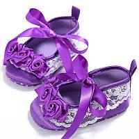Атласные туфельки-пинетки для  девочки 12 см.