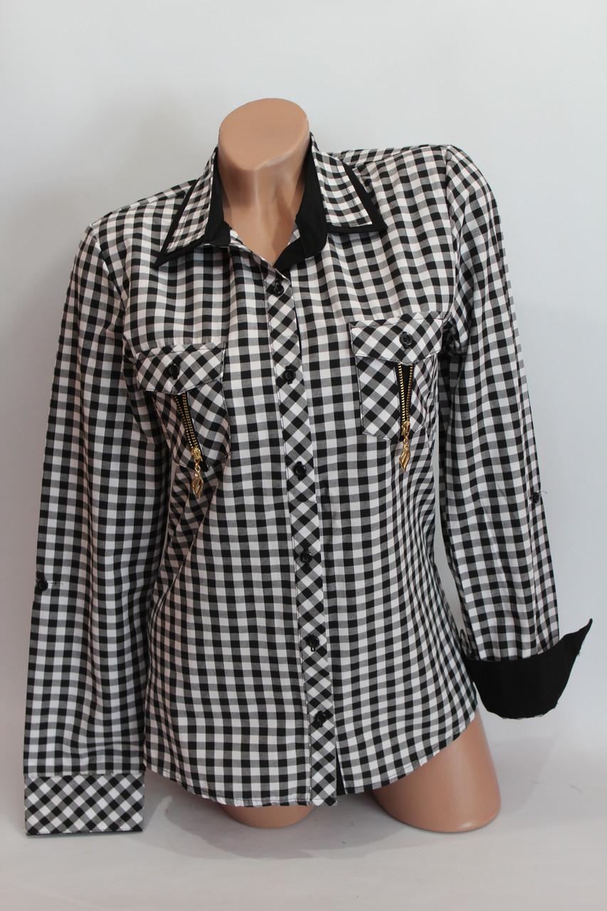 Женские рубашки в клетку замок карм. оптом VSA черный+белый мелкая