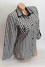 Женские рубашки в клетку замок карм. оптом VSA черный+белый мелкая, фото 3
