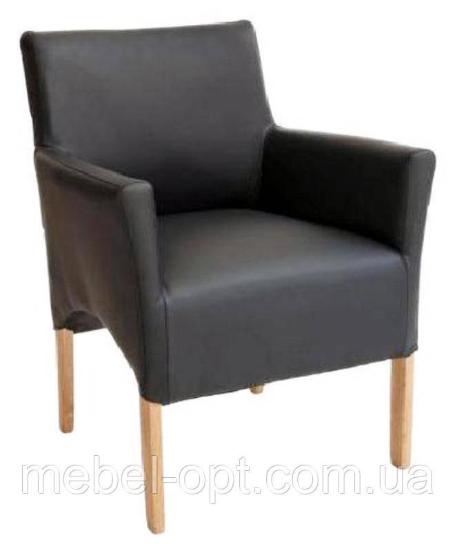 Кресло Верона мягкое, кожзам черный на деревянных ножках, бук антик орех Твист мокко