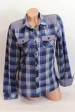 Женские рубашки в клетку джинс KL. оптом VSA т.син.+бел.+полос., фото 3