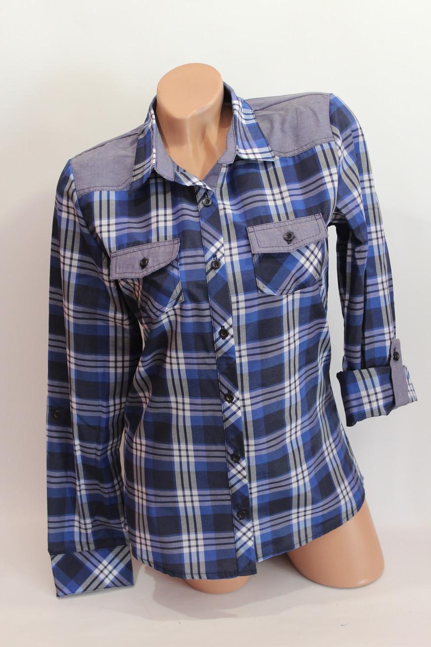 Женские рубашки в клетку джинс KL. оптом VSA т.син.+бел.+полос.