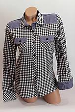 Женские рубашки в клетку джинс KL. оптом VSA черн.+бел. мелк., фото 2